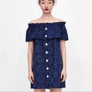 NEW ZARA Paisley Eyelet Off Shoulder Dress Small